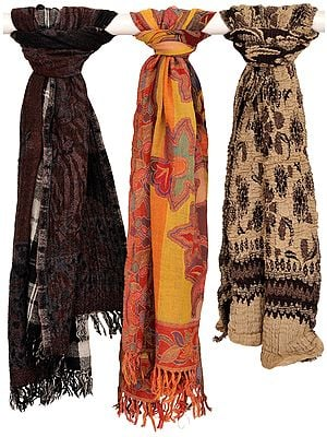 Assorted Lot of Three Jamawar Scarves