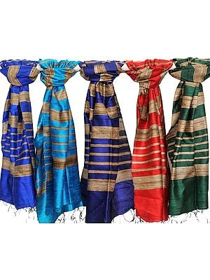 Lot of Five Banarasi Dupattas with Jute Weave