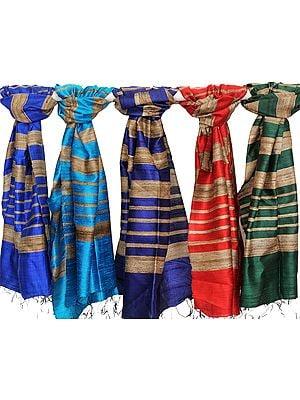 Lot of Five Banarasi Dupattas with Jute Weave