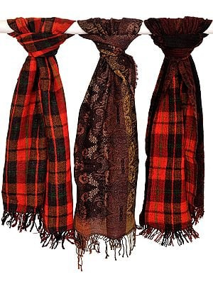 Assorted Lot of Three Reversible Jacquard Jamawar Scarves