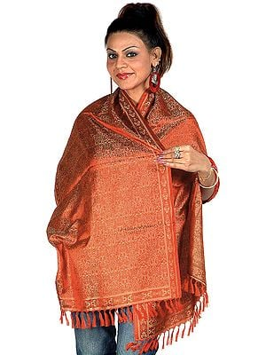 Tehra Banarasi Stole Hand-Woven with All-Over Paisleys