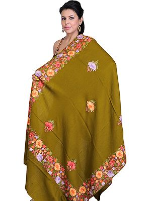 Green Floral Shawl from Kashmir with Ari Embroidered Flowers