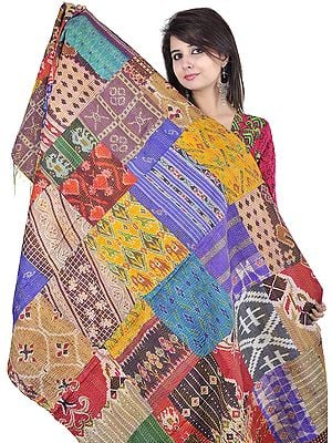 Multi-Color Patchwork Reversible Shawl from Kolkata with Kantha Stitch Embroidery All-Over