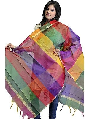 Multi-Color Rainbow Chanderi Dupatta with Golden Thread Weave