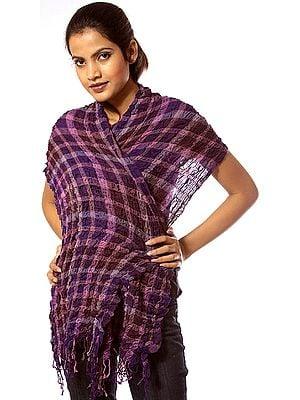 Purple Matted Wool-Lycra Scarf