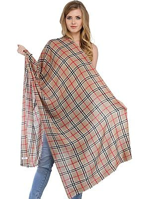 Champagne Beige Burberry Cashmere Stole with Woven Checks