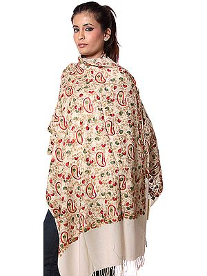 Beige Ari Stole with Multi-Color Embroidered Paisleys