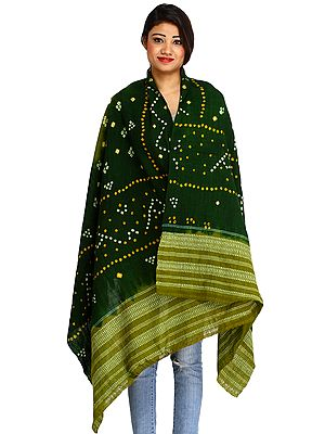 Double-Shaded Bandhani Tie Dye Shawl from Kutch