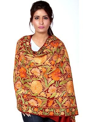 Ari Floral Embroidered Stole from Kashmir
