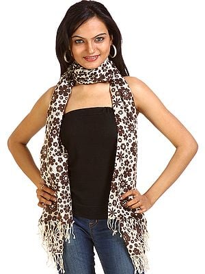 Ivory and Brown Floral Printed Stole