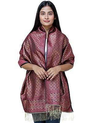 Zari Ektara Banarasi Scarf with Tanchoi Weave