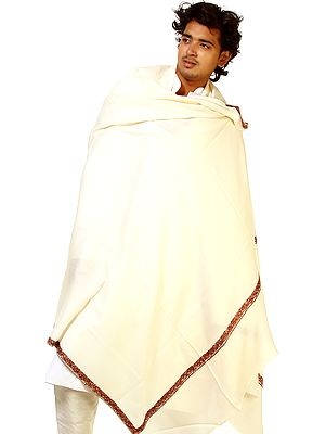 Ivory Men's Tusha Shawl with Sozni Embroidery on Edges