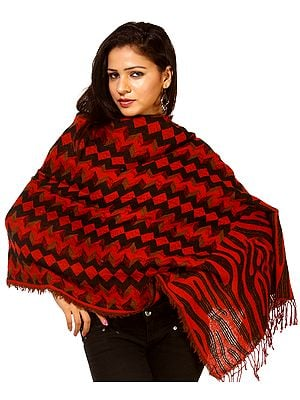 Red and Black Jamawar Reversible Stole