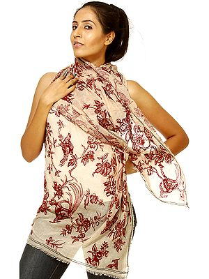 Beige Stole with Printed Birds and Flowers