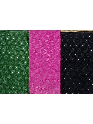 Lot of Three Phulkari Dupattas from Punjab with All-Over Embroidery