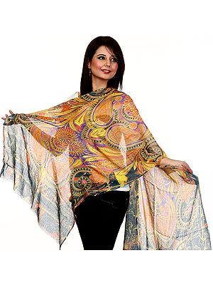 Tri-Color Stole with Printed Paisleys and Flowers