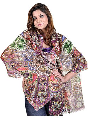 Multi-Color Stole with Digital-Printed Paisleys and Flowers