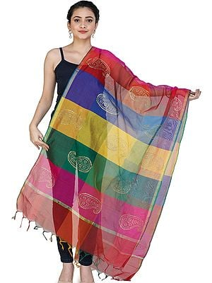 Multi-Color Rainbow Chanderi Dupatta with Printed Paisleys