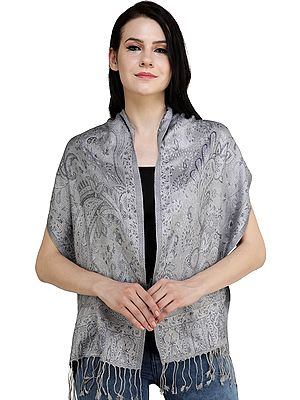 Super-Silk Jamawar Scarf with Woven Paisleys
