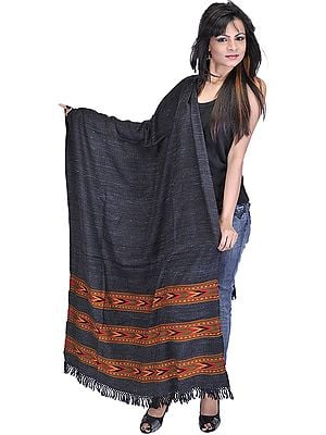 Charcoal-Gray Shawl from Kullu with Kinnauri Woven Border