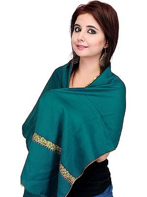 Tusha Scarf from Kashmir with Sozni Embroidered Border