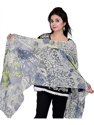 Steel-Gray Digital Wild-life Printed Stole