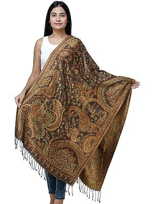 Reversible Super Silk Jamawar Stole with All-Over Weave