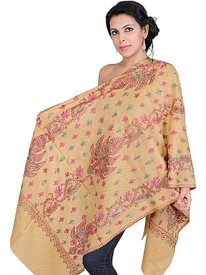 Kashmiri Tusha Stole with Hand-Embroidered Chinar Leaves