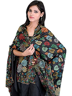 Kani Shawl with Woven Chinar Leaves in Multi-Colored Thread