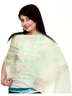 Pale-Green Plain Batik Dyed Stole
