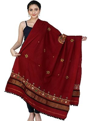 Shawl from Kutch with Embroidered Chakra and Mirrors