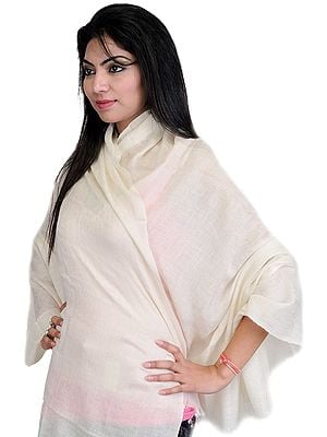 Cream Plain Pashmina Shawl with Self Weave, as an Imitation of Shahtush