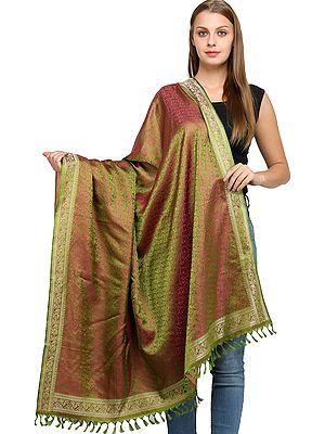 Hand-Woven Banarasi Shawl with Tanchoi Weave