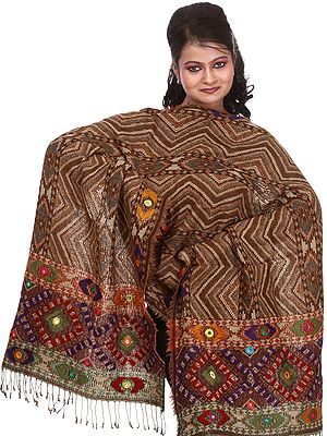 Brown-Sugar Jamawar Stole with Zig-Zag Weave and Embroidered Mirrors
