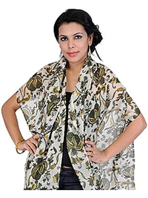 Ivory Scarf with Large Printed Stylized Paisleys