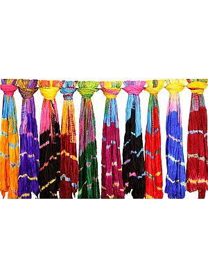 Lot of Ten Tie-Dyed Leheria Dupattas from Jodhpur