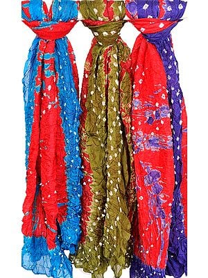 Lot of Three Bandhani Tie-Dye Dupattas from Rajasthan