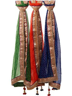 Lot of Three Tie-Dye Leheria Dupattas from Jodhpur with Gota Border