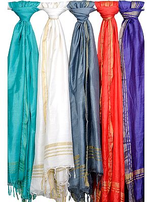 Lot of Five Plain Dupattas from Jharkhand with Woven Stripes on Border