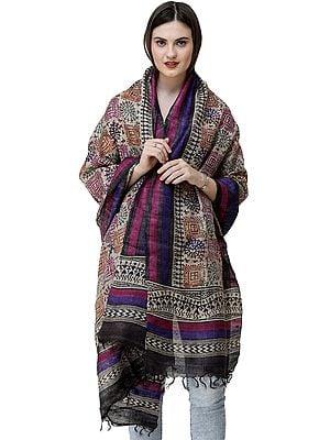 Warm-Sand Dupatta Wrap with Warli Print