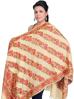 Kashmiri Designer Stole with Hand Embroidered Flowers All-Over