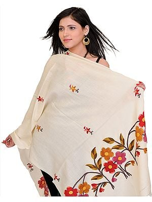 Floral Stole from Kashmir with Ari Embroidery by Hand