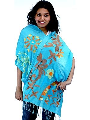 Sky-Blue Stole Designed with Contemporary Design-Motifs