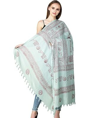 Eggshell Lord Ganesha Prayer Shawl with Printed Om and Hare Rama Hare Krishna Mantra