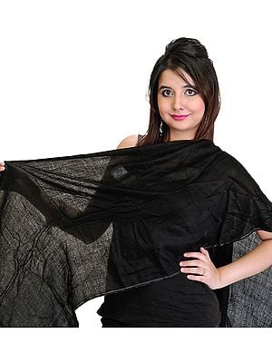 Plain Jet-Black Pashmina Stole from Nepal