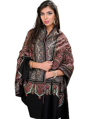 Jet-Black Pashmina Shawl with Indricate Needle Embroidery By Hand