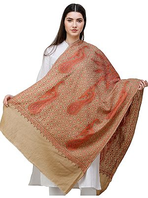 Kashmiri Tusha Stole with Sozni Hand Embroidered Paisleys and Large Chakra