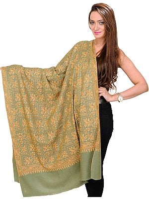 Mineral-Green Kashmiri Shawl with Sozni Embroidered Paisleys by Hand