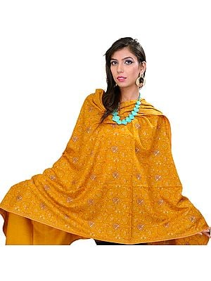 Mustard Pure Pashmina Shawl from Kashmir with Sozni Floral Embroidery