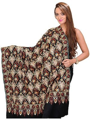 Jet-Black Pure Pashmina Shawl from Kashmir with Sozni Embroidered Chinar Leaves All-Over